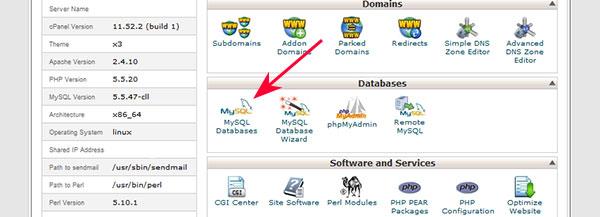 Cpanel database MySQL