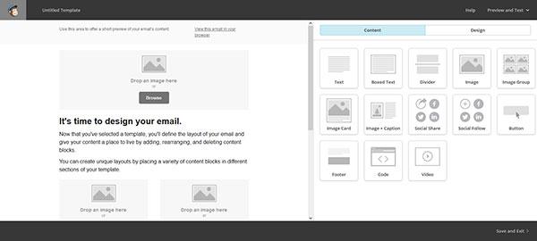 Schermata di Mailchimp