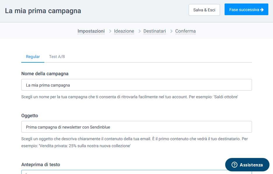 Crea nuova campagna newsletter con Sendinblue